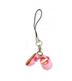 First shoes pink Leather cellular phone Charm