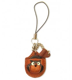 Owl Japanese Leather Cellularphone Charm Magnifying glass