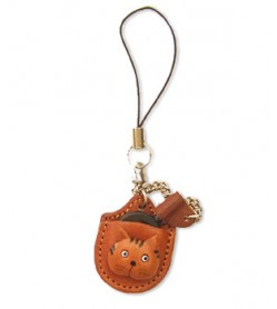 Cat Japanese Leather Cellularphone Charm Magnifying glass
