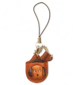 Dog Japanese Leather Cellularphone Charm Magnifying glass