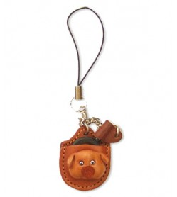 Pig Japanese Leather Cellularphone Charm Magnifying glass