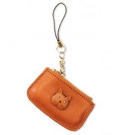 Cat Japanese Leather Cellularphone Charm Change Purse