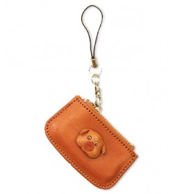 Pig Japanese Leather Cellularphone Charm Change Purse