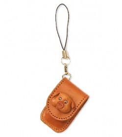 Pig Japanese Leather Cellularphone Charm Memo set