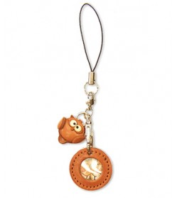 Owl Japanese Leather Cellularphone Charm Picture Frame Round