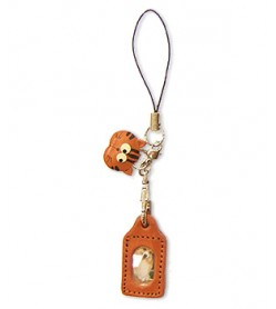 Cat Japanese Leather Cellularphone Charm Picture Frame Square