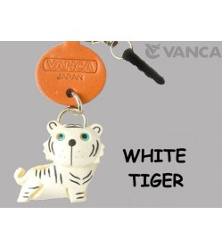 White Tiger Leather Animal Earphone Jack Accessory