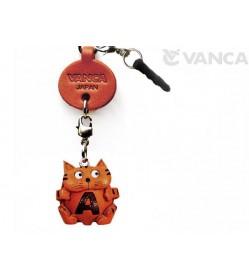 Alphabet Cat A Leather Animal Earphone Jack Accessory