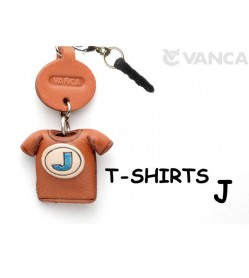 J/Blue Leather T-shirt Earphone Jack Accessory