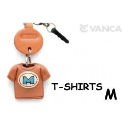 M/Blue Leather T-shirt Earphone Jack Accessory