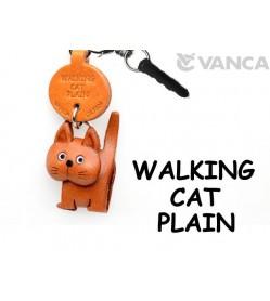 Walking Cat Plain Leather Cat Earphone Jack Accessory