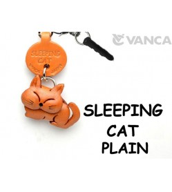 Sleeping Cat Plain Leather Cat Earphone Jack Accessory
