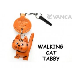 Tabby Walking Cat Leather Earphone Jack Accessory #47405