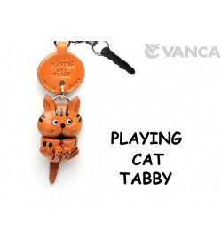 Tabby Playing Cat Leather Earphone Jack Accessory #47401
