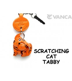 Tabby Scratching Cat Leather Earphone Jack Accessory #47402