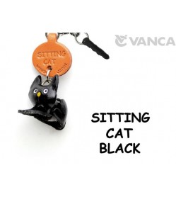 Sitting Cat Black Leather Cat Earphone Jack Accessory