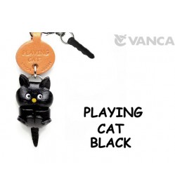 Playing Cat Black Leather Cat Earphone Jack Accessory