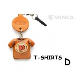 D/Red Leather T-shirt Earphone Jack Accessory
