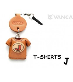 J/Red Leather T-shirt Earphone Jack Accessory