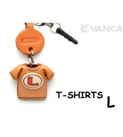 L/Red Leather T-shirt Earphone Jack Accessory