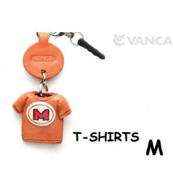 M/Red Leather T-shirt Earphone Jack Accessory