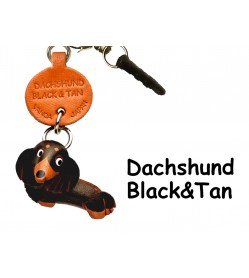 Dachshund Longhair Black&Tan Leather Dog Earphone Jack Accessory