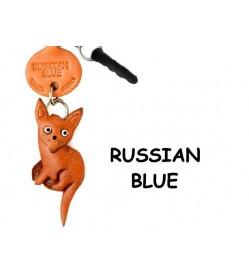 Russian Blue Leather Cat Earphone Jack Accessory