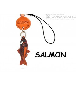 Salmon Japanese Leather Cellularphone Charm Fish