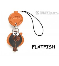 Flat fish Japanese Leather Cellularphone Charm Fish