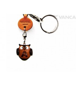 Initial Owl A Leather Animal Keychain