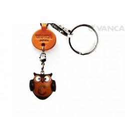Initial Owl C Leather Animal Keychain
