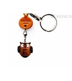 Initial Owl E Leather Animal Keychain