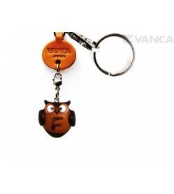 Initial Owl F Leather Animal Keychain