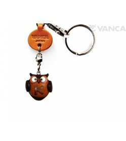 Initial Owl K Leather Animal Keychain