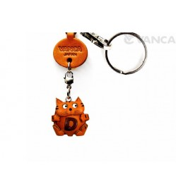 Initial Cat D Leather Animal Keychain