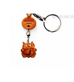 Initial Cat J Leather Animal Keychain
