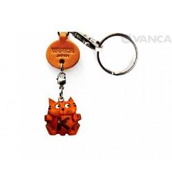 Initial Cat K Leather Animal Keychain