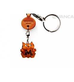 Initial Cat M Leather Animal Keychain