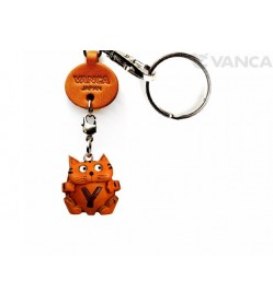 Initial Cat Y Leather Animal Keychain