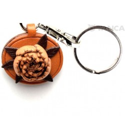 Peony Leather Flower Keychain