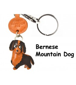 Bernese Mountain Dog Leather Dog Keychain