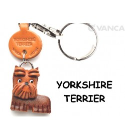 Yorkshire Terrier Leather Dog Keychain