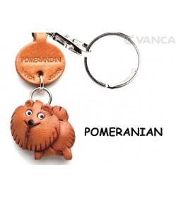 Pomeranian Leather Dog Keychain