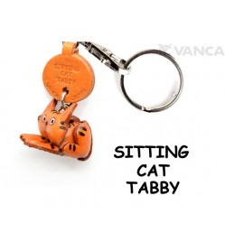 Tabby Sitting Cat Japanese Leather Keychains