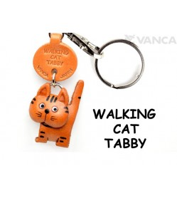 Tabby Walking Cat Japanese Leather Keychains