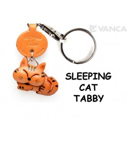 Tabby Sleeping Cat Japanese Leather Keychain