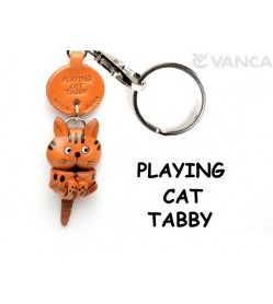 Tabby Playing Cat Japanese Leather Keychain