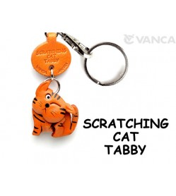 Tabby Scratching Cat Japanese Leather Keychains