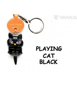 Black Playing Japanese Leather Keychains Cat