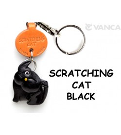 Black Scratching Japanese Leather Keychains Cat